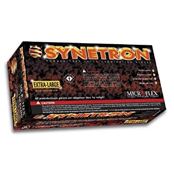 "Microflex Synetron Latex Glove, Powder Free, Extended Cuff, 11.4"" Length, 9.1 mils Thick (10  boxes, 50 gloves per box)"