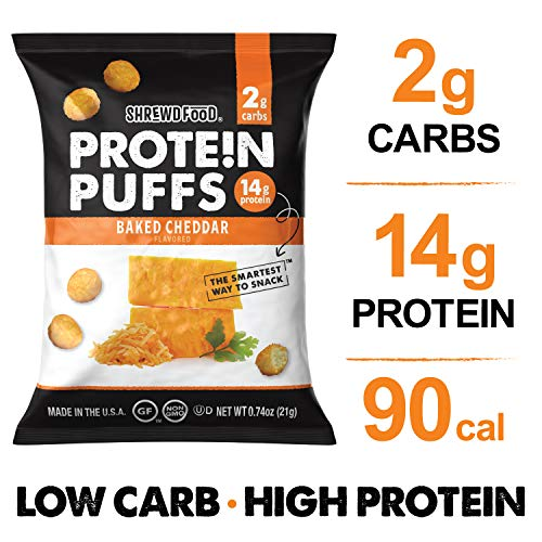 Shrewd Food Low Carb Keto Protein Puffs Baked Cheddar 8 Pack | 112g Protein (14g per Serving), 2g Carbs | High Protein, Gluten Free Snacks | Real Cheese, No Artificial Flavors | Soy Free, Peanut Free
