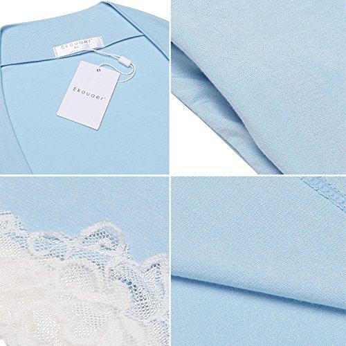 Viscosa Donne Azzurro xxl Breve Delle s Ekouaer Notte Vestaglia Veste Da Kimono Z7Uxcwq5Sp