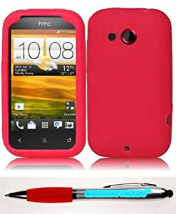 Accessory Factory(TM) Bundle (the item, 2in1 Stylus Point Pen) For HTC Desire C Silicone Skin Cover Case - Red Soft Jelly Rubber Phone Protector