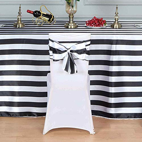 Efavormart 5pc x Stripes Satin Chair Sash for Wedding Decor Chair Bow Sash Party Decoration Supplies - Black & White