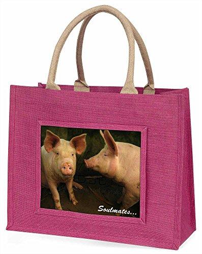 Advanta Schweine in Love Stall, SOULMATES Große Einkaufstasche Weihnachten Geschenk Idee, Jute, Rosa, 42x 34,5x 2cm