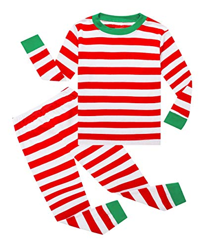 Lymanchi Kid Boys Pajamas Christmas Cotton Striped Cute Unisex Sleepwear Set 2-7Y 145 Red -
