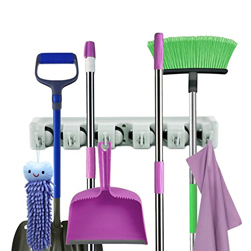 Broom Holder   Wall Mounted Mop Organizer   Light Grey, Hanging Rack Room Saver   5 Slots – 6 Hooks Non Slip Space Maker   by Anapoliz
