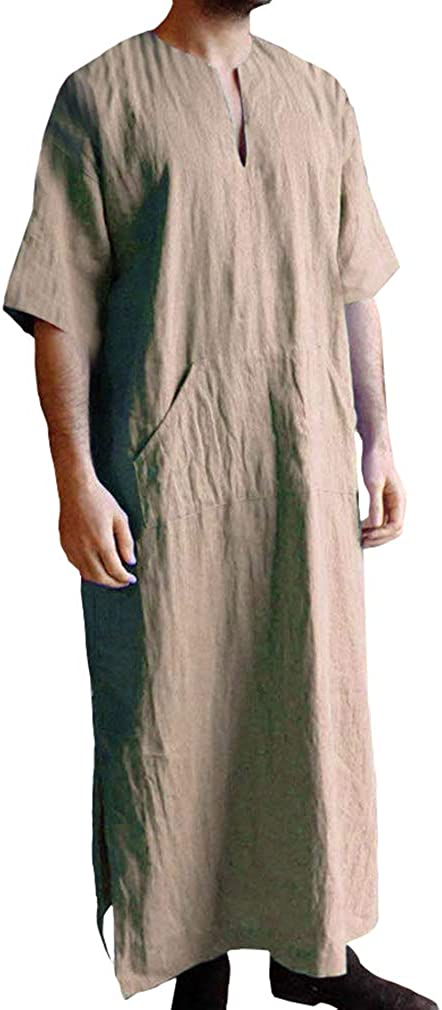 Hombre Musulmanes Kaftan Etnico Retro Robes Manga Corta Suelto Túnicas Lateral De Hendidura Color Sólido Larga Camisa Arabe Dubai Islámico Thobe