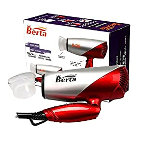 Berta 1875 Watts Folding Hair Dryer Tourmaline Ceramic Negative Ionic Blow Dryer US Plug