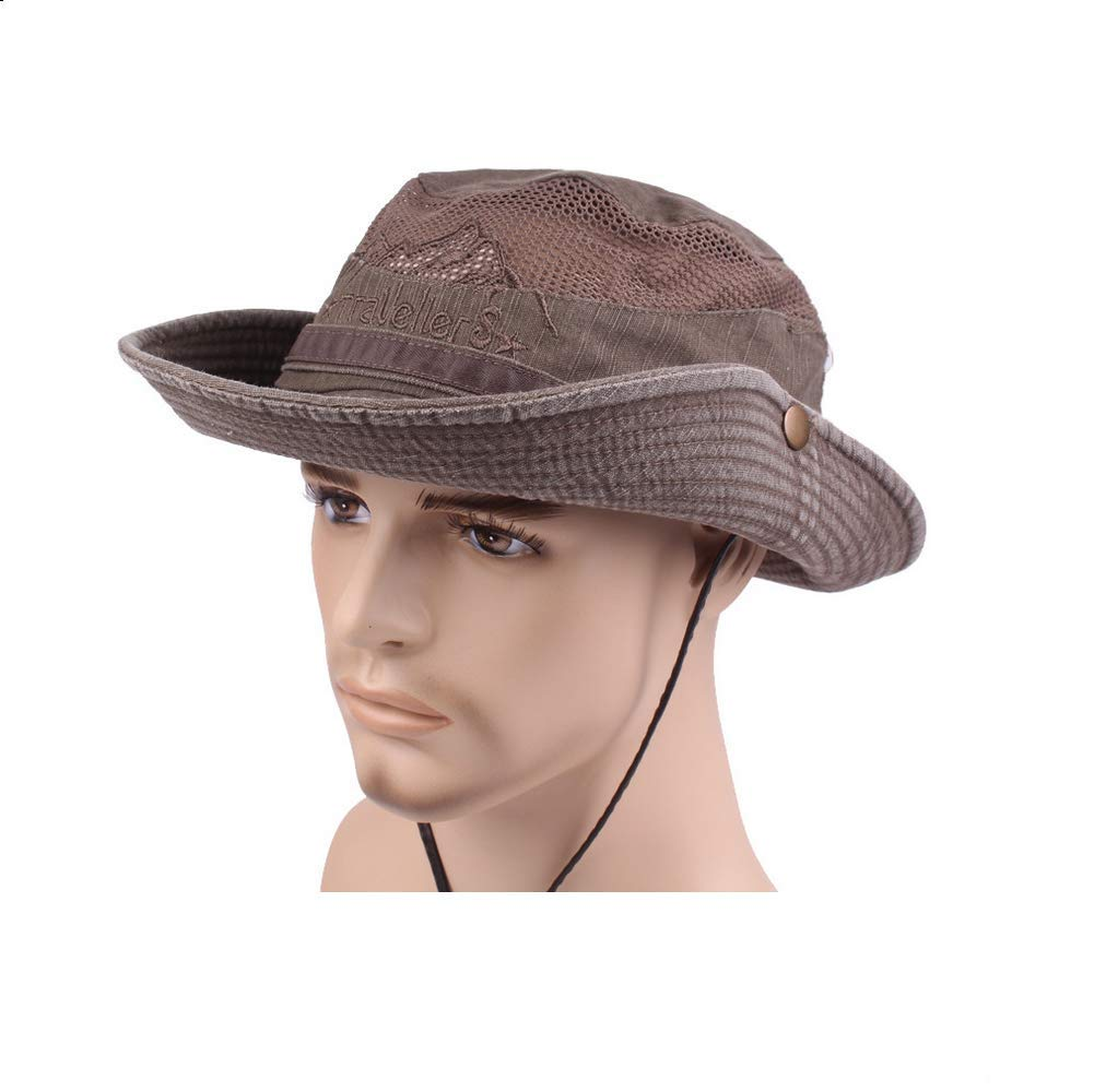 59e4880074d SAENSHING Mens Cotton Embroidery Fisherman Hat Mesh Visor Bucket Hats  Outdoor Wide Brim Sunshade Cap