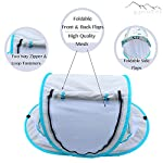 Baby-Beach-Tent-Outdoor-Indoor-Tent-UV-Protection-SPF-50-Lightweight-Mosquito-Bug-Protection-Girl-and-Boy-Tent-Two-Pegs-Cotton-Bumblebee-Blanket-Travel-Bag-Blue-and-Grey