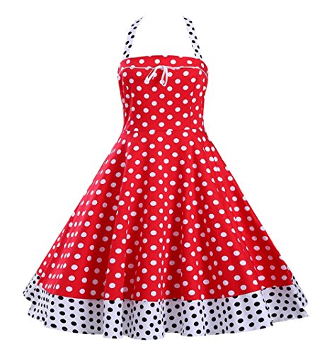 Tecrio Vintage 50s 60s Style Marilyn Costume Halter Neck Polka Dots Party Dress XL Red