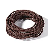 FadimiKoo Electrical Cord 28Ft Twisted Cloth Cord, 18/2 Cotton Covered Electrical Antique Wire For Vintage Bulb, Pendant Light And Other Industrial Antique DIY Projects(Brown)