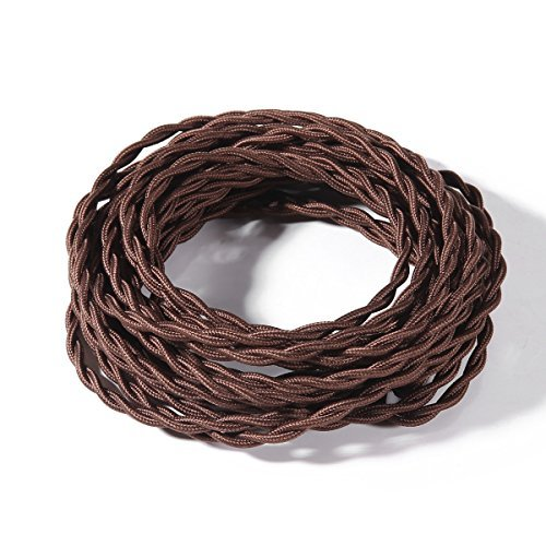 (FadimiKoo Electrical Cord 28Ft Twisted Cloth Cord, 18/2 Cotton Covered Electrical Antique Wire For Vintage Bulb, Pendant Light And Other Industrial Antique DIY Projects(Brown))