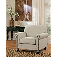 Milari Collection 1300020 42 Chair with Fabric Upholstery Nail Head Accents Rolled Arms and Casual Style in Linen