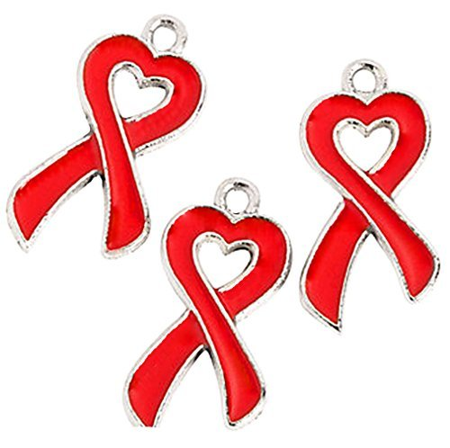 Red Ribbon Awareness Cancer Heart Charms (Red) (Red Awareness Ribbon Charm)