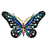 sourjas Gorgeous Fashion Gold-tone Crystal Blue Enamel Butterfly Brooches Art Deco Women Wedding Pins