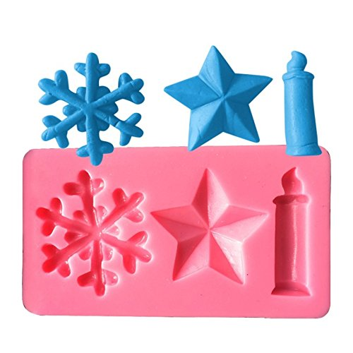 Ndier AK Christmas Candles Stars Snowflake Cake Decorating Silicone Moulds Nider