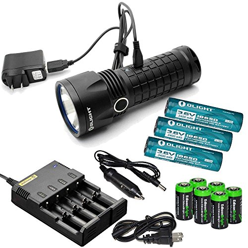 Olight SR52 Intimidator 1200 Lumen Cree XM-L2 LED USB rechargeable Flashlight, Nitecore i4 home/car intelligent Charger, three Olight 18650 3400mAh Li-ion rechargeable batteries and six EdisonBright CR123A Lithium Batteries bundle