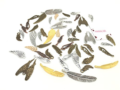 Sterling Silver Gold Feather (100g (50-60pcs) Mixed Feather Shaped Charms Pendants Assorted DIY Antique Charms Pendant(100 Gram feather design))