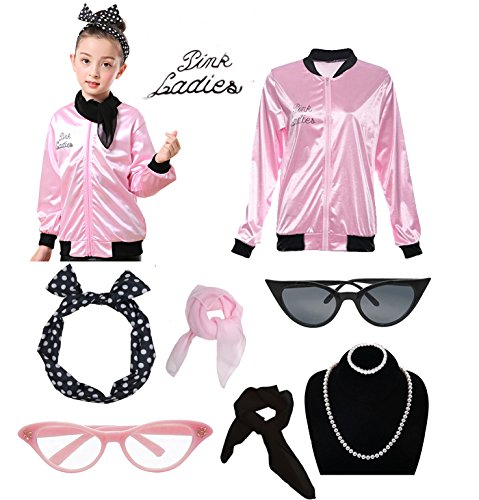 1950s Child Grease Girls 50's Pink Ladies Jacket Costume Outfit Set (L, Pink) -