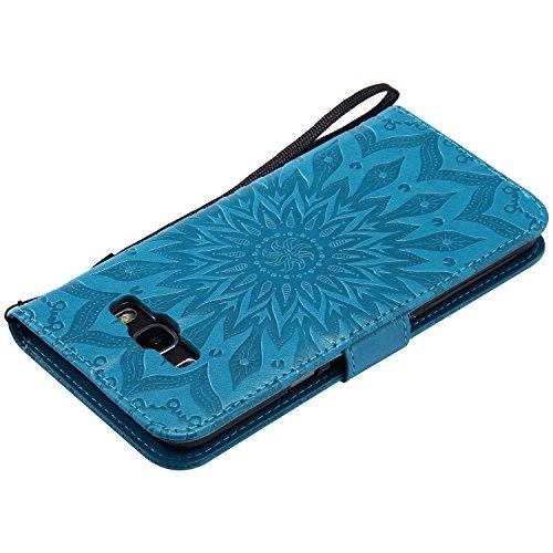 Funda Samsung Galaxy J7 (2016)J710 Case , Ecoway Girasoles patrón en relieve PU Leather Cuero Suave Cover Con Flip Case TPU Gel Silicona,Cierre Magnético,Función de Soporte,Billetera con Tapa para Tar azul