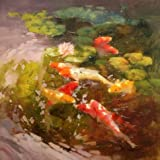 Canvas Prints Of Oil Painting ' Carps In The Lotus Pond ' , 10 x 10 inch / 25 x 25 cm , High Quality Polyster Canvas Is For Gifts And Garage, Nursery And Study Room Decoration, custom