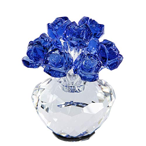 H&D Blue Crystal Blossoming Rose Bouquet Flowers Figurines Ornament