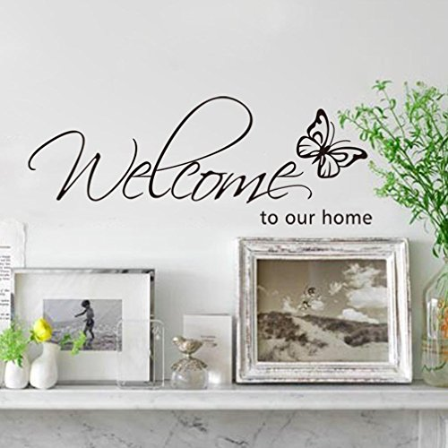 Flying Black Butterfly Saying Welcome to our home Front Door Sign Decal Vinyl Letters Quotes Stickers for Living Room Porch Garden,DIY 27.95