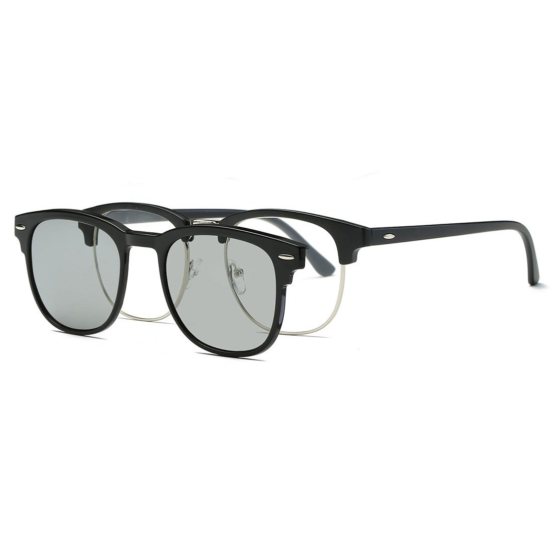 99268cf2bad Galleon - AEVOGUE Magnetic Clip-on Polarized Sunglasses Mens Plastic  Titanium (TR90) Frame Unisex Prescription Glasses AE0510 (Black Sliver