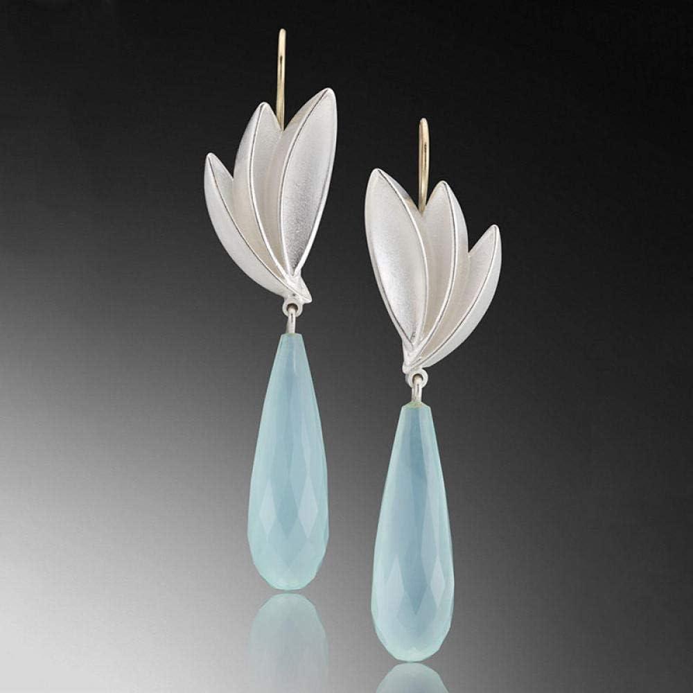 Erin Earring Elegante Cristal Azul Gota De Agua Pendientes Largos De Piedra Joyería De Moda para Mujer Plata/Oro Lotus Pendientes Pendientes Z3D321