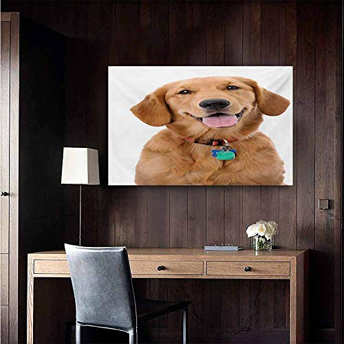 duommhome Golden Retriever Modern Oil Paintings Portrait of Young Pedigreed Dog Wearing a Collar and Tags Domestic Animal Canvas Wall Art 32