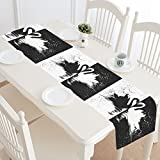 InterestPrint Black ans White Swan Couple Cool Animal Table Runner Linen & Cotton Cloth Placemat Home Decor for Wedding Banquet Decoration 16 x 72 Inches