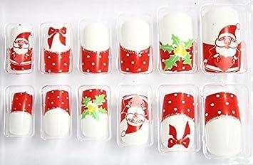 24 x uñas puntas con almohadillas adhesivas de fijación colour blanco y rojo de Papá Noel de Navidad KP-B8005-6: Amazon.es: Belleza