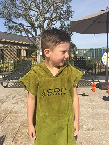 COR Board Racks Kids Towel Poncho - Light, Soft and Dries Fast | fits Ages 3-10 (Green) by Cor Surf by COR Board Racks (Image #2)