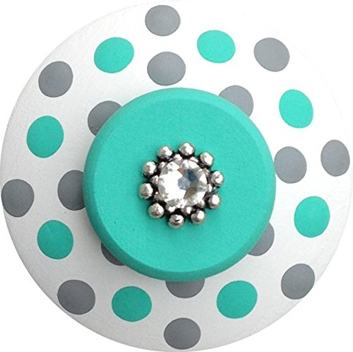 (Hand Painted Jeweled Grey and Turquoise Polka Dots Decorative Dresser Furnitue Kids Childrens Nursery Room Art Decor Wood Drawer Knobs Pulls)