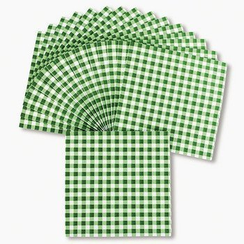 Green Gingham Luncheon Napkins - Party Tableware & Napkins by Oriental Trading Company for $<!--$7.99-->