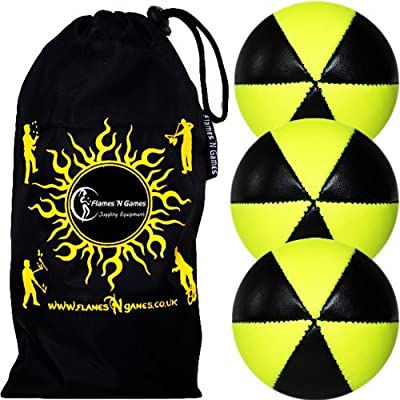 Flames N Games Astrix UV Thud Juggling Balls Set of 3 (Black/Yellow) Pro 6 Panel Leather Juggling Ball Set & Travel Bag!: Toys & Games