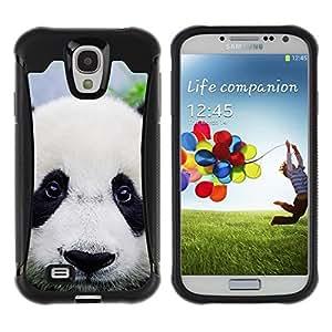LASTONE PHONE CASE / Suave Silicona Caso Carcasa de Caucho Funda para Samsung Galaxy S4 I9500 / Panda Cute Japanese Eyes Sad Furry Plush