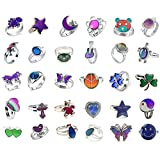 LH1028 30pcs-Mixed Mood Rings Classic Temperature Change Color Mood Ring Lovers (Adjustable Size) (30pcs-2)