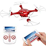 Syma X5UW Wifi FPV 720P HD Camera Quadcopter Drone with Flight Plan Route App Control and Altitude Hold Function Red