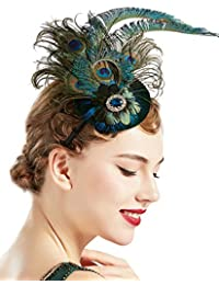 1920s Flapper Fascinator Feather Pillbox Hat Fascinator for Tea Party