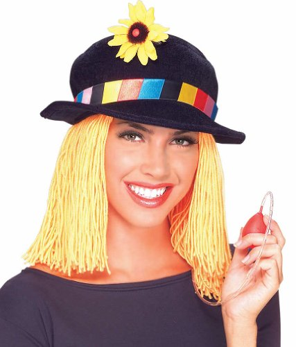 Rubie's Costume Co Clown Hat with Flower & Hair Costume (Adult Flower Halloween Costume)