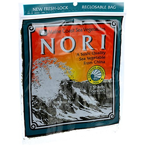 - Maine Coast Organic Sea Vegetables - Sushi Nori Sheets - Toasted Chinese - .6 oz (Pack of 3)