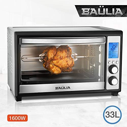 "Baulia TO089 12"" Digital Toaster 33 Liter Compact Countertop Oven – Stainless Steel-Even Heat Technology – 9 One-Touch Preprogramed Functions – 120, 33L"