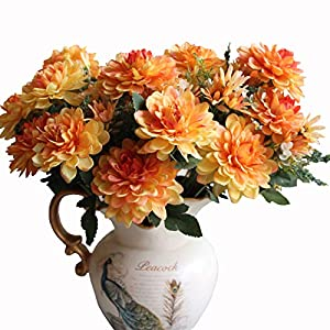 Htmeing 10 Heads Artificial Silk Gerbera Daisy Flowers Marigold Bouquet for Office Home Floral Decor, Pack of 2 (Orange red) 71