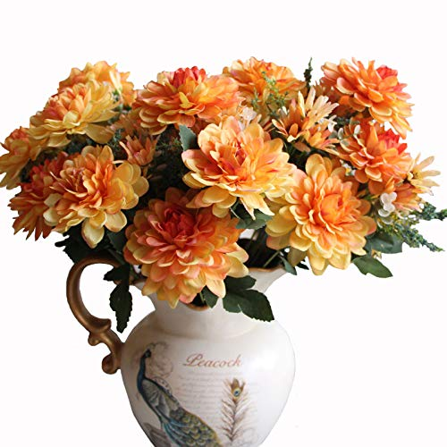Htmeing 10 Heads Artificial Silk Gerbera Daisy Flowers Marigold Bouquet for Office Home Floral Decor, Pack of 2 (Orange -