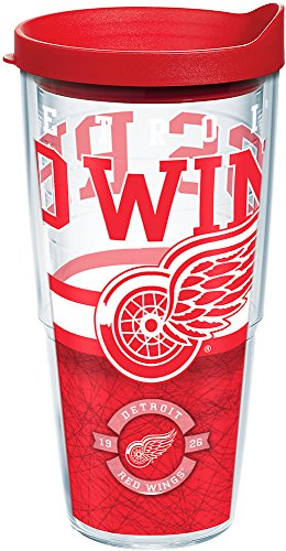 Tervis 1164796 NHL Detroit Red Wings Core Tumbler with Wrap and Red Lid 24oz, -