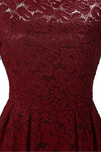 Vintage Nalati Floral del Larga Vino Hombro Manga Vestido de del Rojo Coctel Oscilación del de Encaje Mujeres qRRgn5rC