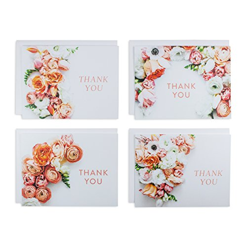Beautiful Floral Thank You Card Set, Thank You Cards Great for Giving Thanks & Spreading Love, 80 lbs. Card Stock, Includes 4 White Envelopes (Set of 4, 4 Designs)