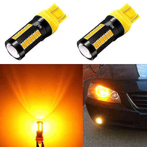 Alla Lighting 2800lm 7440 7443 LED Bulbs Xtreme Super Bright T20 7441 7442 7444NAK LED Bulb 5730 33-SMD Car Back-Up Reverse,Turn Signal,Brake Stop Lights TailLights DRL, Amber Yellow