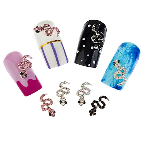 Nail Art 3D Decorations Set of 12pcs Snakes Studded With Pink, AB, Silver And Black Rhinestones / Crystals / Jewels / Gems By VAGA