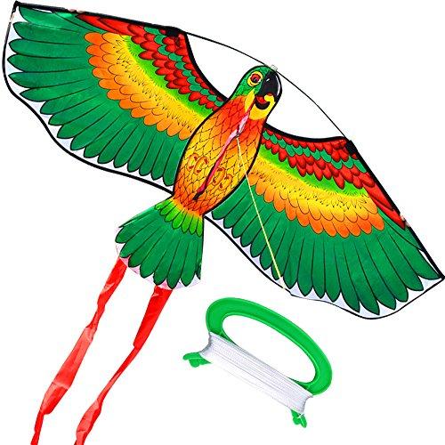 HENGDA KITE- Kites For Kids Children Lovely Cartoon Green Parrot Kites With Flying Line ()